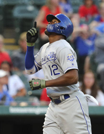 Kansas City Royals Jorge Soler gestures as he crosses the plate after a solo home run during the fourth inning against the Texas Rangers in a baseball game Friday, May 25, 2018, in Arlington, Texas. (AP Photo/Richard W. Rodriguez)