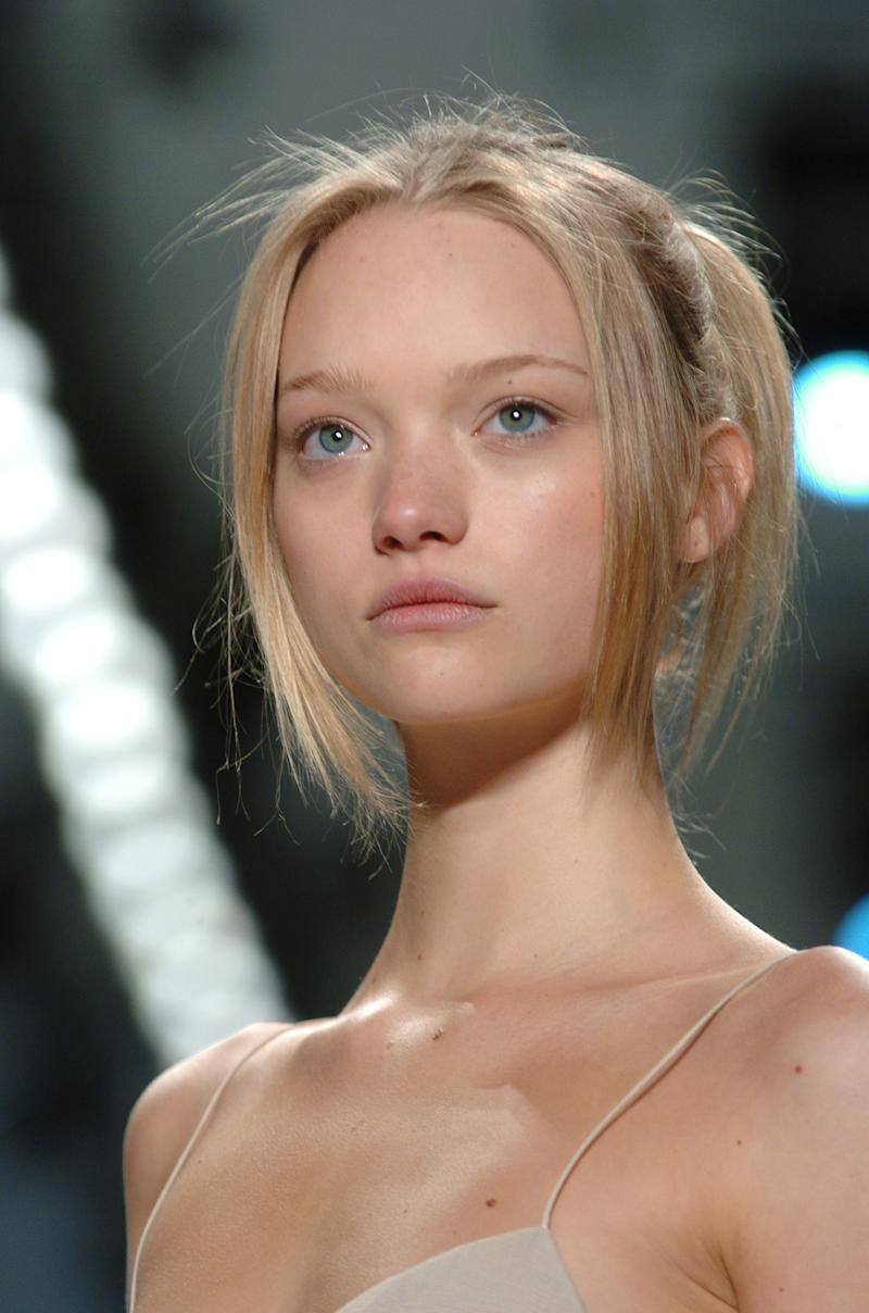 Gemma Ward walking the runway of the fall/winter 2005 J. Mendel show during New York Fashion Week.