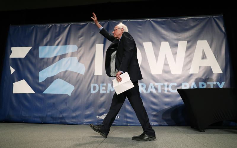 Democratic presidential candidate Bernie Sanders arrives on stage to speak during the Iowa Democratic Party's Hall of Fame Celebration, Sunday, June 9, 2019, in Cedar Rapids, Iowa. (AP Photo/Charlie Neibergall)