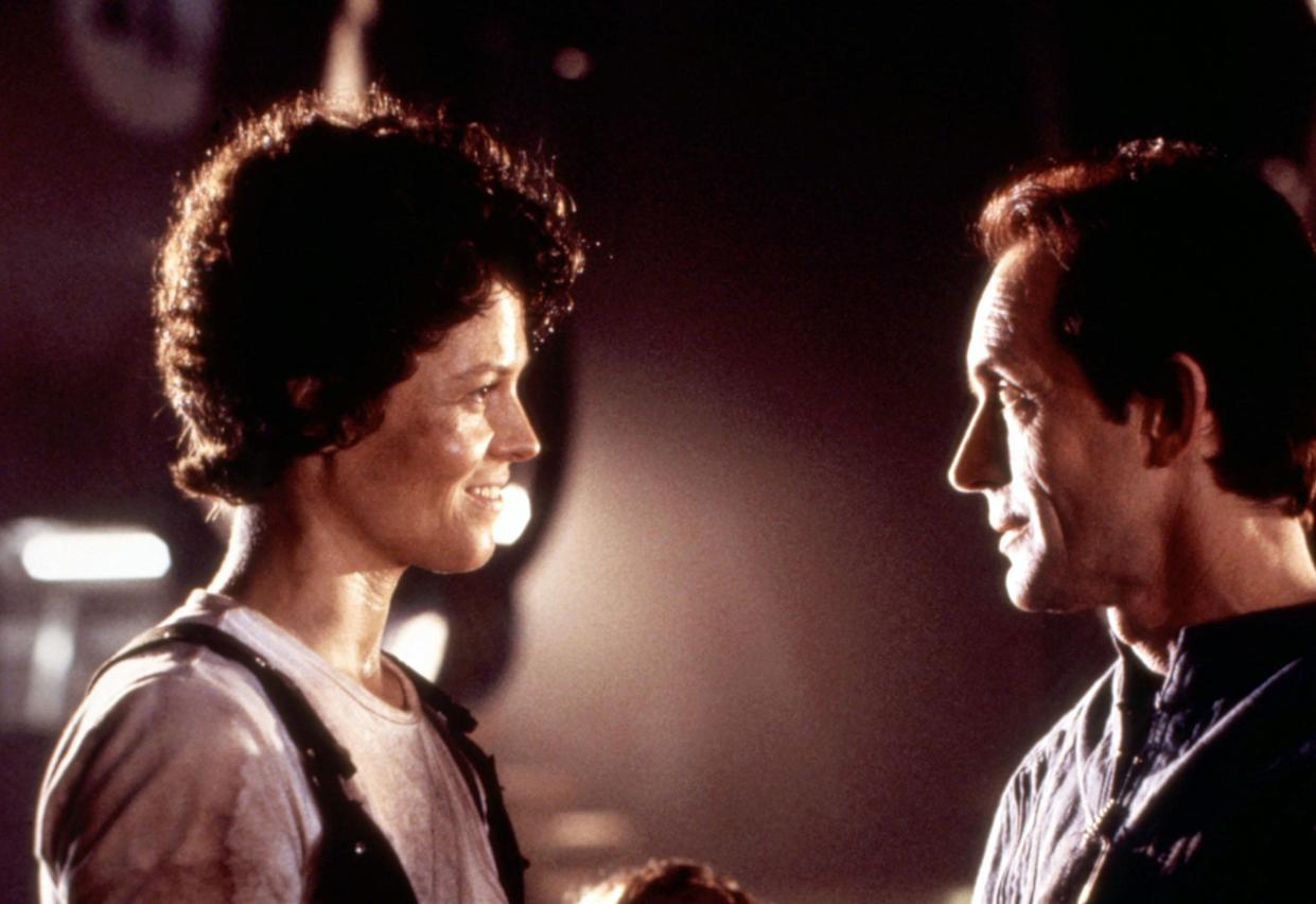 Sigourney Weaver as Ellen Riley and Lance Henriksen as Bishop in James Cameron's 1986 action classic, Aliens (Photo: ©20thCentFox/Courtesy Everett Collection)