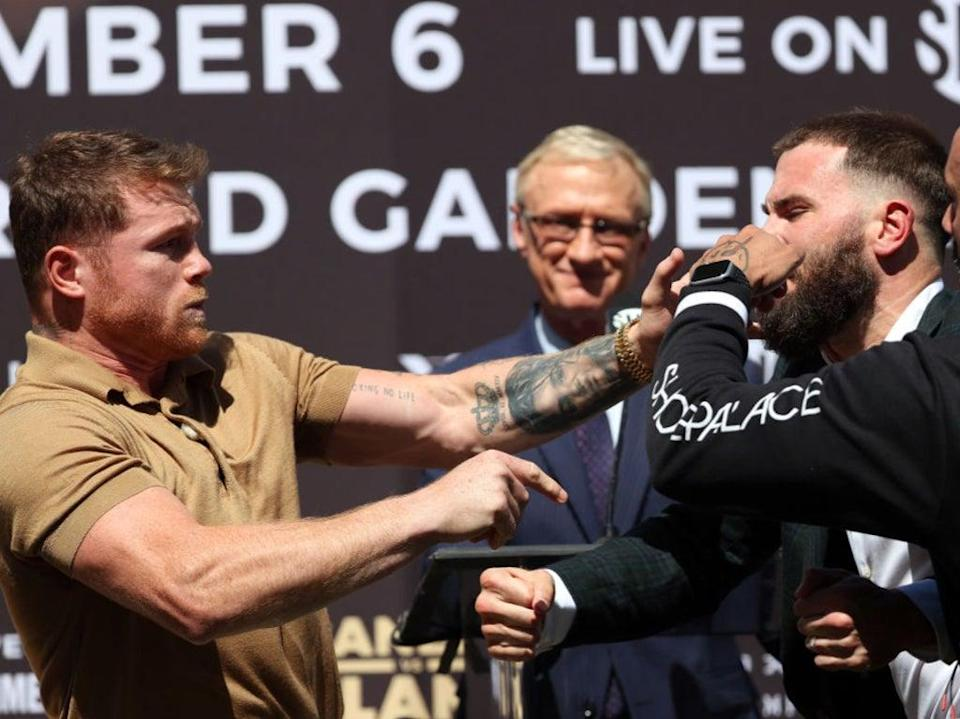 Canelo and Plant became embroiled in a brawl after exchanging heated words (Getty Images)