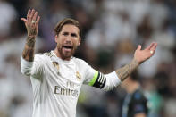 Real Madrid's Sergio Ramos reacts during the Champions League group A soccer match between Real Madrid and Club Brugge, at the Santiago Bernabeu stadium in Madrid, Tuesday, Oct. 1, 2019. (AP Photo/Bernat Armangue)