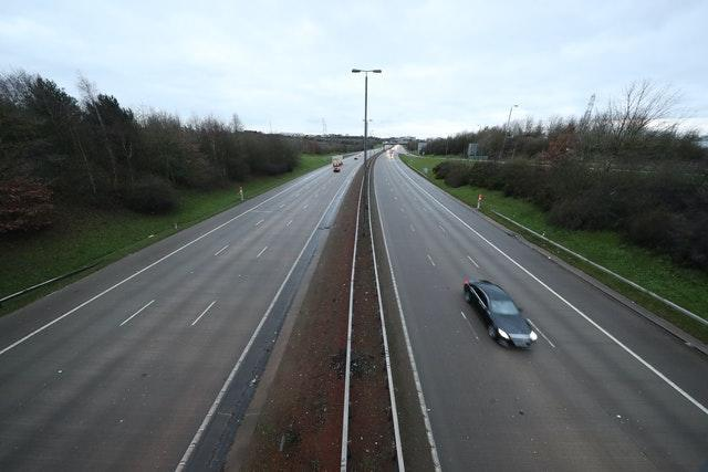 A near empty road at junction 44 of the M1 motorway near Leeds, Yorkshire, at 8.21am the morning after Prime Minister Boris Johnson set out further measures as part of a lockdown in England in a bid to halt the spread of coronavirus