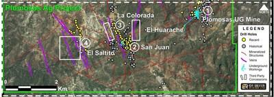 Figure 2 - Drill Holes Location – Underground Workings – Plomosas Silver Project (CNW Group/GR Silver Mining Ltd.)