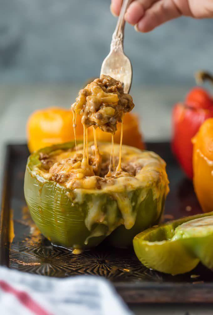 """<strong>Get the <a href=""""https://www.thecookierookie.com/cheesy-enchilada-stuffed-peppers/"""" target=""""_blank"""">Cheesy Enchilada Baked Peppers recipe</a>fromThe Cookie Rookie</strong>"""