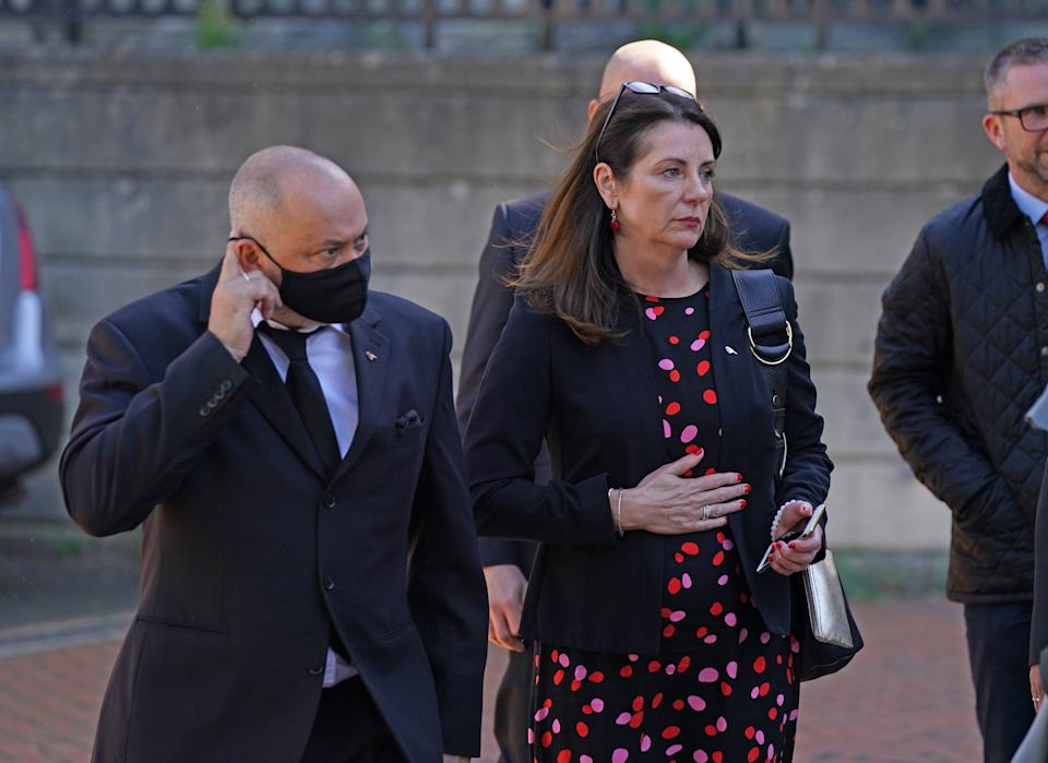 Stuart and Amanda Stephens outside Reading Crown Court ahead of the sentencing of two 14-year-old boys who were found guilty of murdering their 13-year-old son Olly Stephens (swns)