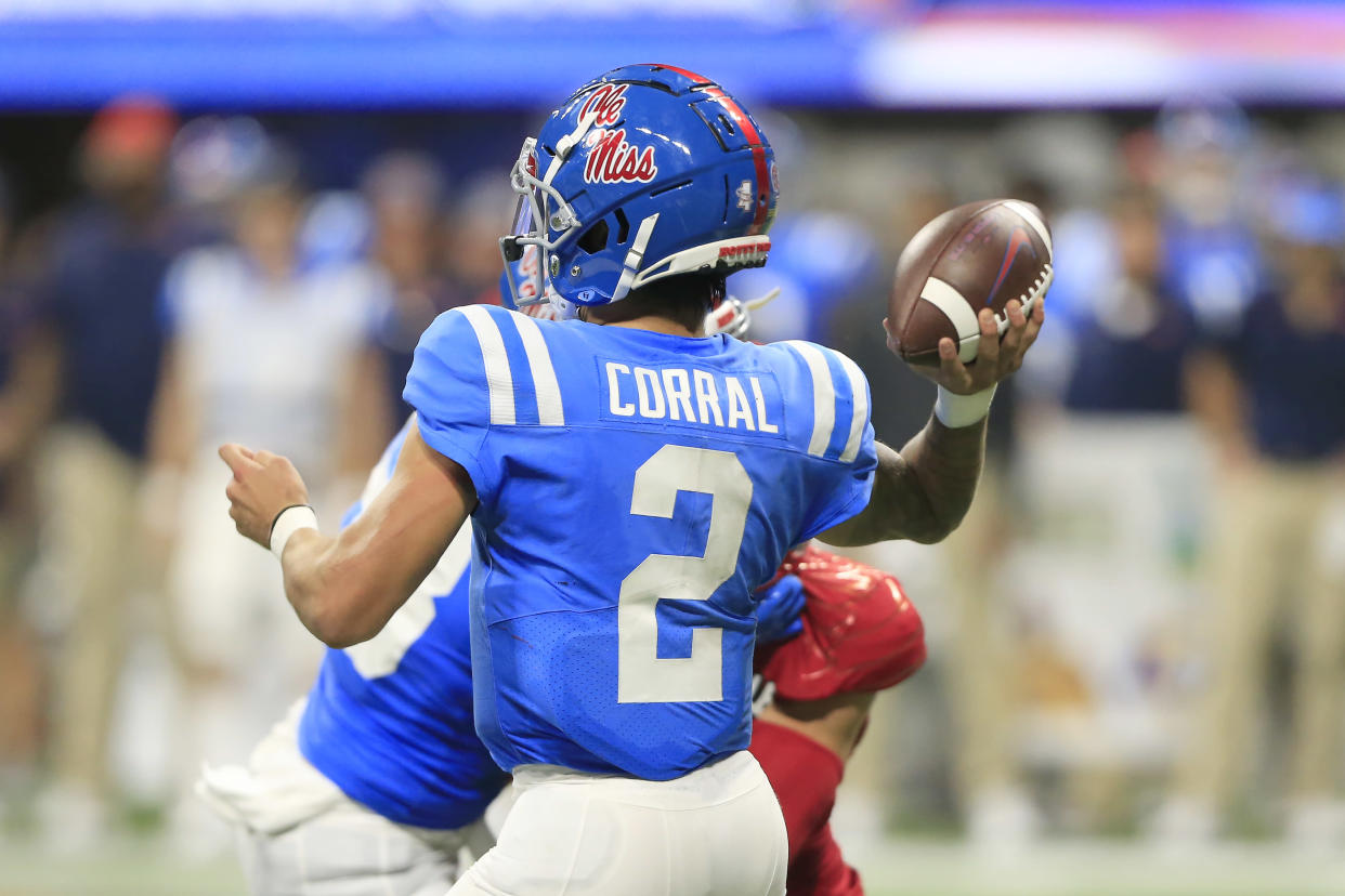 Ole Miss QB Matt Corral was downright lethal against Louisville but will have tougher tests ahead.  (Photo by David J. Griffin/Icon Sportswire via Getty Images)