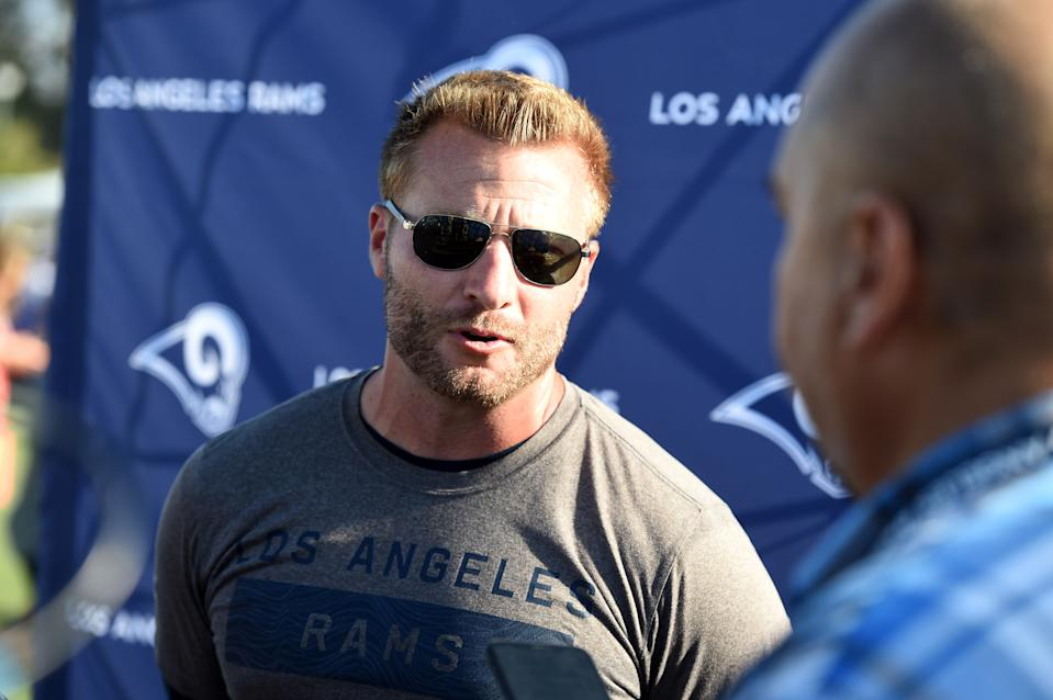 IRVINE, CA - JULY 29: Rams head coach Sean McVay addresses the media during the Los Angeles Rams Training Camp on July 29, 2019, at UC Irvine in Irvine, CA. (Photo by Chris Williams/Icon Sportswire via Getty Images)