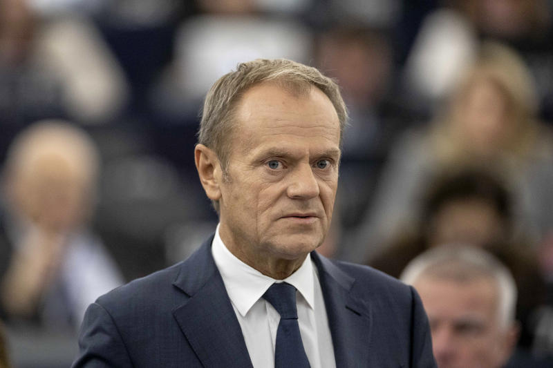 European Council President Donald Tusk delivers his speech Tuesday, Oct. 22, 2019 at the European Parliament in Strasbourg. Britain faces another week of political gridlock after British lawmakers on Monday denied Prime Minister Boris Johnson a chance to hold a vote on the Brexit divorce bill agreed in Brussels last Thursday. (AP Photo/Jean-Francois Badias)