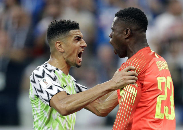 Nigeria's Leon Balogun, left, and Nigeria goalkeeper Francis Uzoho react after Iceland's Gylfi Sigurdsson missed a penalty kick during the group D match between Nigeria and Iceland at the 2018 soccer World Cup in the Volgograd Arena in Volgograd, Russia, Friday, June 22, 2018. (AP Photo/Andrew Medichini)