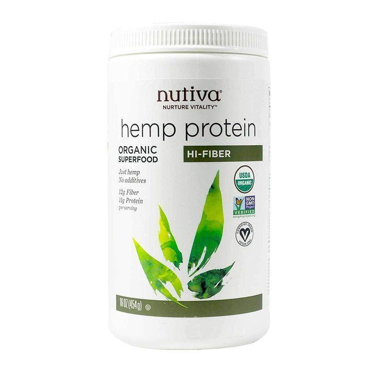 """<p><strong>Nutiva</strong></p><p>amazon.com</p><p><strong>$17.59</strong></p><p><a href=""""https://www.amazon.com/dp/B001JU81ZG?tag=syn-yahoo-20&ascsubtag=%5Bartid%7C10055.g.35084321%5Bsrc%7Cyahoo-us"""" rel=""""nofollow noopener"""" target=""""_blank"""" data-ylk=""""slk:Shop Now"""" class=""""link rapid-noclick-resp"""">Shop Now</a></p><p>This organic plant-based pick not only offers <strong>15 grams of protein per serving, but it's also an excellent source of fiber </strong>making this option a nutrient-dense powerhouse. Made with only one ingredient (organic hemp seed protein), this no-nonsense option easily mixed into liquids, though it will settle over time, so drink up! It makes the perfect addition to smoothies and has an earthy flavor that pairs well with peanut butter and banana.</p>"""