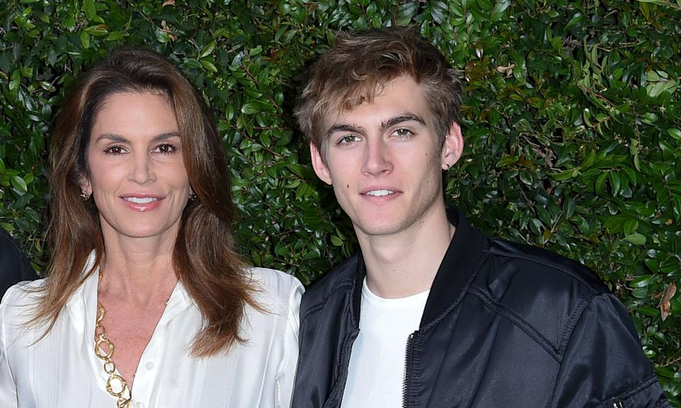 Cindy Crawford with son Presley Walker Gerber. (Photo by Richard Shotwell/Invision/AP)