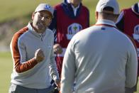 Team Europe's Sergio Garcia reacts to a putt on the eighth hokle during a foursomes match the Ryder Cup at the Whistling Straits Golf Course Saturday, Sept. 25, 2021, in Sheboygan, Wis. (AP Photo/Jeff Roberson)