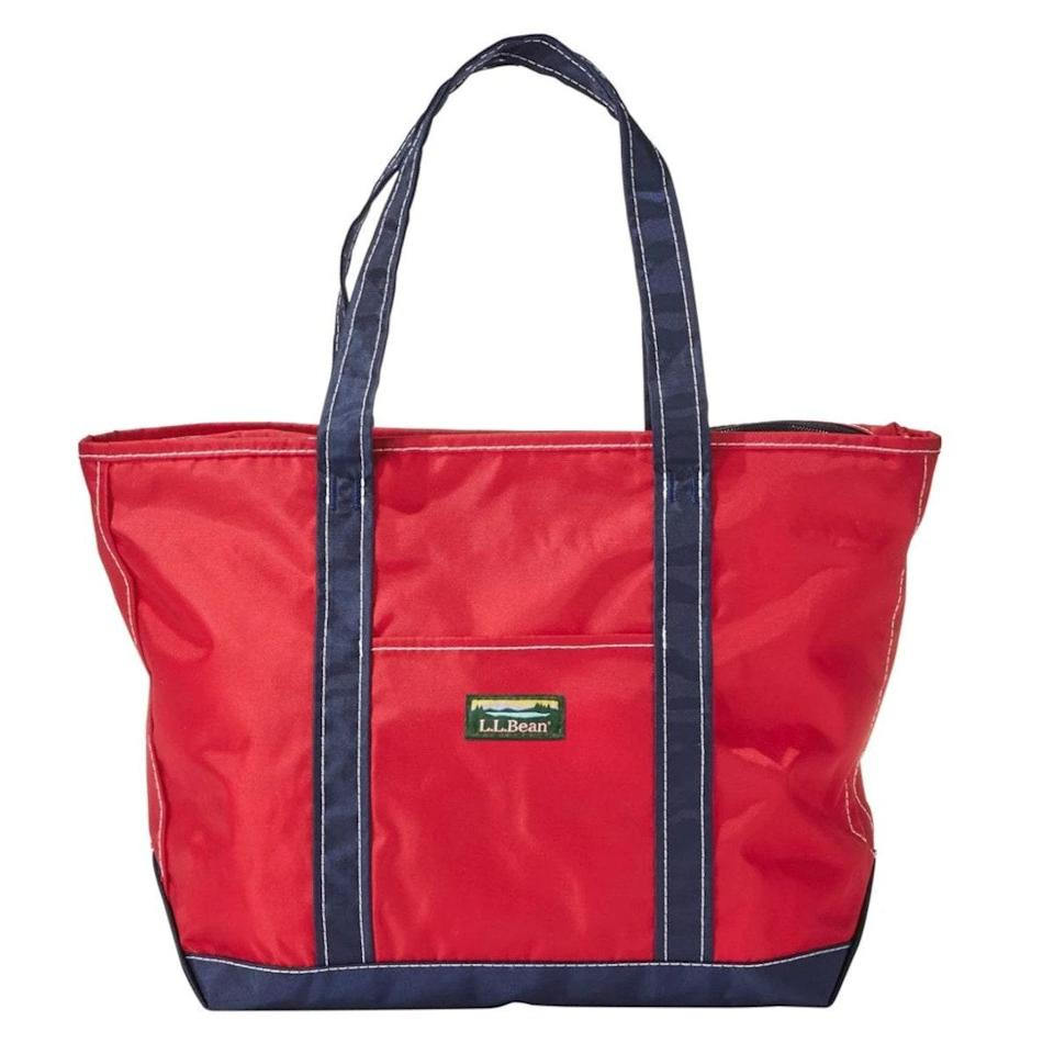 """We had a more traditional diaper bag tote before that we didn't like—it had so many pockets that it was actually difficult to find things. Then I found this roomy tote from L.L. Bean: It's cheap, light, waterproof, durable, and easy to clean, so I'm not worried if I have to put poop-blowout outfits or dirty spoons in it. And it fits a lot. We end up bringing this—filled with diapers and diaper cream, baby wipes, extra outfits, bottles, and toys—to our outings. —<em>Kimberly Levine-Pai, ob-gyn and mom of one</em> $30, L.L. Bean. <a href=""""https://global.llbean.com/shop/Everyday-Lightweight-Tote/78927.html?page=everyday-lightweight-tote"""" rel=""""nofollow noopener"""" target=""""_blank"""" data-ylk=""""slk:Get it now!"""" class=""""link rapid-noclick-resp"""">Get it now!</a>"""