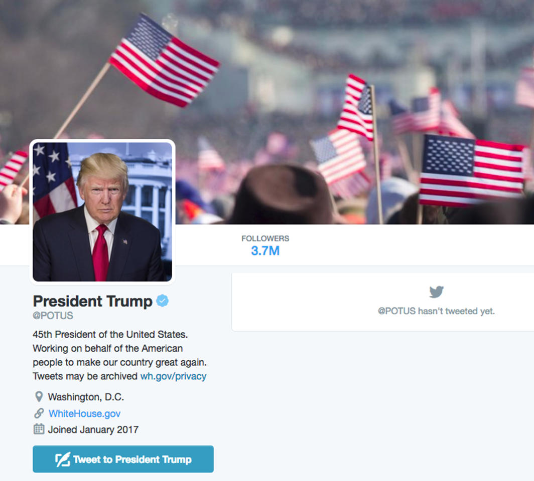 The new @POTUS Twitter account for President Donald Trump is shown in this frame grab, Friday, Jan. 20, 2017. The technological transition came just as Trump took the oath Friday, giving him a clean digital slate. The White House's official Twitter and Facebook accounts were quickly scrubbed and rebranded. It's the first time social media accounts have been a part of the transition. (AP Photo)