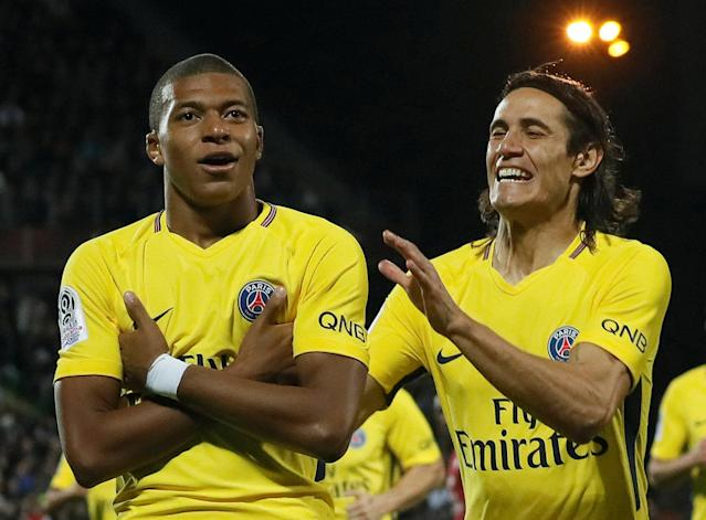 "<a class=""link rapid-noclick-resp"" href=""/soccer/players/kylian-mbappe-lottin/"" data-ylk=""slk:Kylian Mbappe"">Kylian Mbappe</a> (left) had a big day in his debut for Paris Saint-Germain. (Reuters)"