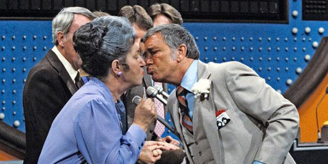 From young ladies to old ladies, Richard Dawson felt the need to kiss every woman on the freaking lips. This kind of thing would never fly today.
