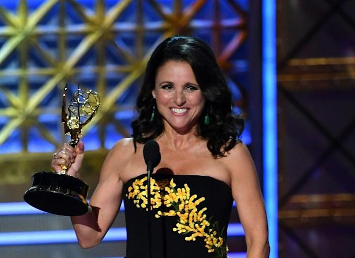 """Julia Louis-Dreyfus won the Emmy for lead actress in a comedy in 2017 for """"Veep"""" -- if she wins again in 2019, she will become the performer with the most overall trophies at nine (AFP Photo/Frederic J. Brown)"""