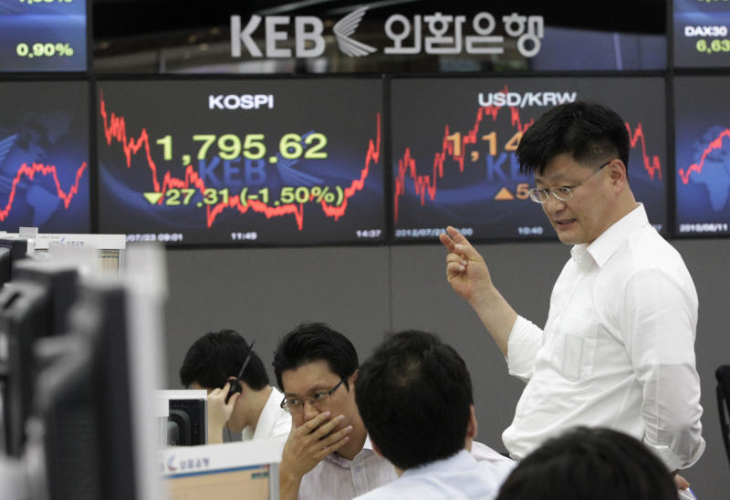 Currency traders talk in front of the screens showing the Korea Composite Stock Price Index, left, and foreign exchange rates at the foreign exchange dealing room of the Korea Exchange Bank headquarters in Seoul, South Korea, Monday, July 23, 2012. The Korea Composite Stock Price Index fell 1.84 percent, or 33.49, to close at 1,789.44. (AP Photo/Ahn Young-joon)