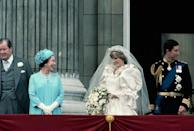 <p>The Queen and her new daughter-in-law share a laugh while on the balcony of Buckingham Palace. </p>