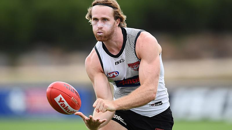 James Stewart, pictured here at an Essendon Bombers training session.