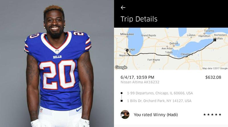 Uber Driver and NFL Player Go On 8-Hour, $632 Ride