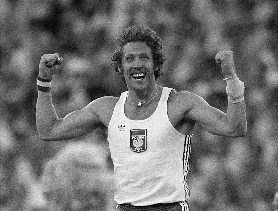 """<p>While Polish pole vaulter Władysław Kozakiewicz was attempting to break the world record in 1980, he was greeted by jeers from the primarily Russian crowed. When he finally succeeded, <a href=""""https://culture.pl/en/article/kozakiewicz-pole-vault-olympics-scandal-poland"""" rel=""""nofollow noopener"""" target=""""_blank"""" data-ylk=""""slk:he gave &quot;the arm&quot; (a signal for a certain expletive) to the spectators"""" class=""""link rapid-noclick-resp"""">he gave """"the arm"""" (a signal for a certain expletive) to the spectators</a> and became an overnight sensation worldwide.</p>"""