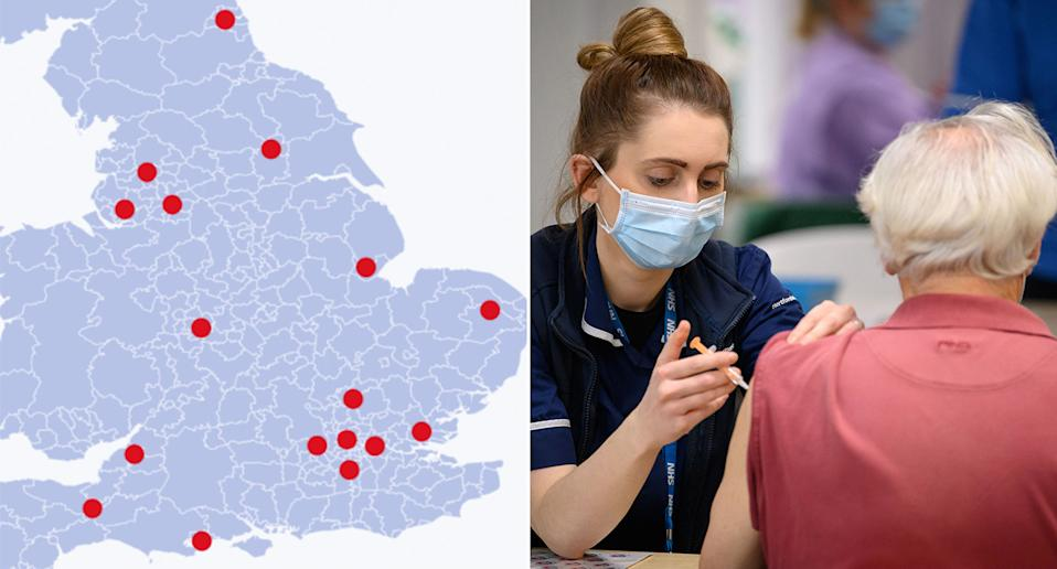 Ten new mass vaccinations open in England this week. (PA)