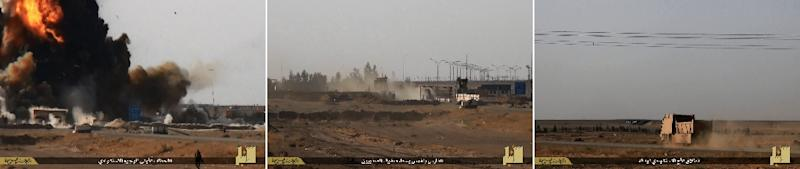 A combination of images from Jihadist media outlet Welayat Al-Anbar on May 19, 2015 allegedly show (R to L) a truck bomb driving towards its target and exploding in Iraq's Anbar province (AFP Photo/)
