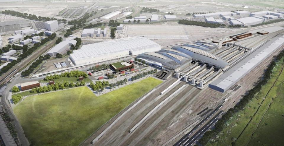 Image issued by HS2 of the proposed Old Oak Common Station in west London (HS2/PA) (PA Media)