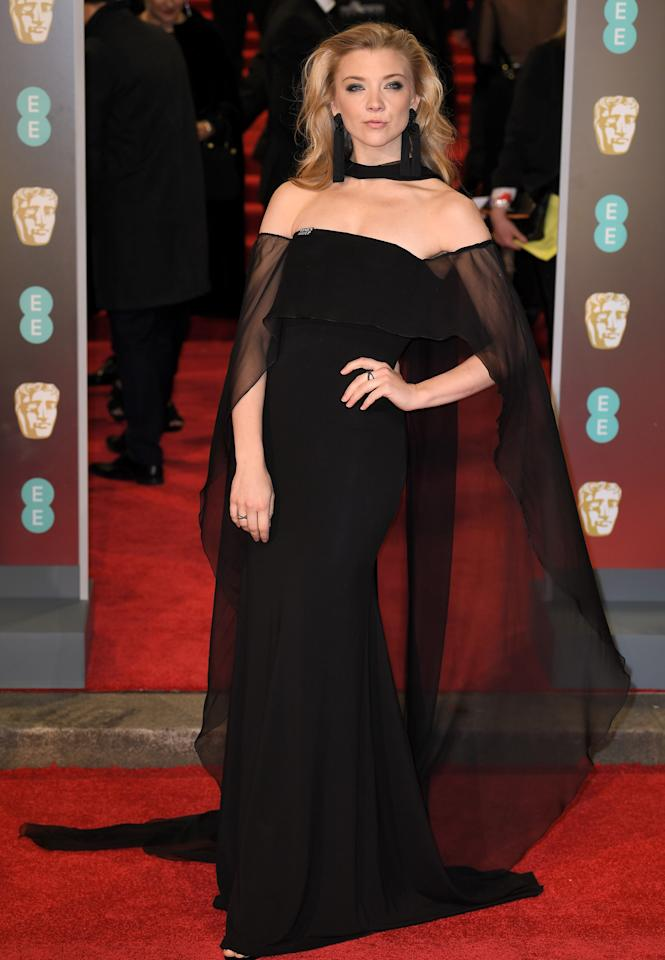 "<p>The ""Game of Thrones"" and ""Hunger Games"" actress gave us all a lesson in red carpet posing in a dramatic, off-the-shoulder look. <em>[Photo: Rex]</em> </p>"