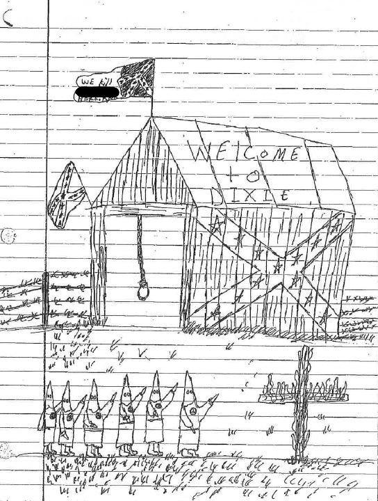 This drawing by an 8th-grade student at the Lebanon Junior High School is part of a number of discipline records produced by school officials during a federal investigation into claims of racial discrimination at the Lebanon City School District. The investigation concluded there was a hostile racial environment for minority students in the Lebanon Junior High and High School.