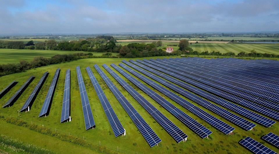 Solar Farm in Romney, Kent, seen from above (PA Wire)