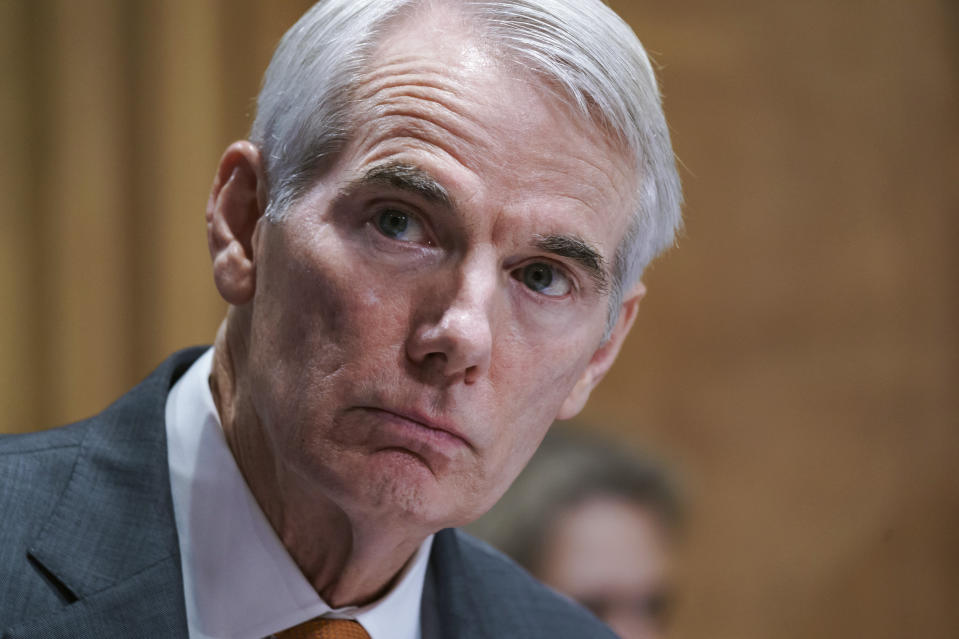 FILE—In this file photo from June 10, 2021, Sen. Rob Portman, R-Ohio, speaks during a Senate Homeland Security Committee hearing at the Capitol in Washington. Portman, a three-decade Washington veteran who plans to retire rather than run next year, stood with Democratic President Joe Biden, and for a moment this week, it was like the old days in Washington. as Biden announced a bipartisan infrastructure package. (AP Photo/J. Scott Applewhite, File)