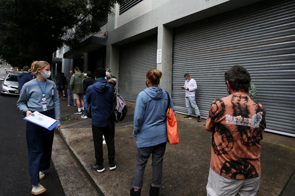 Sydneysiders queue for their vaccines earlier this month. Source: Getty