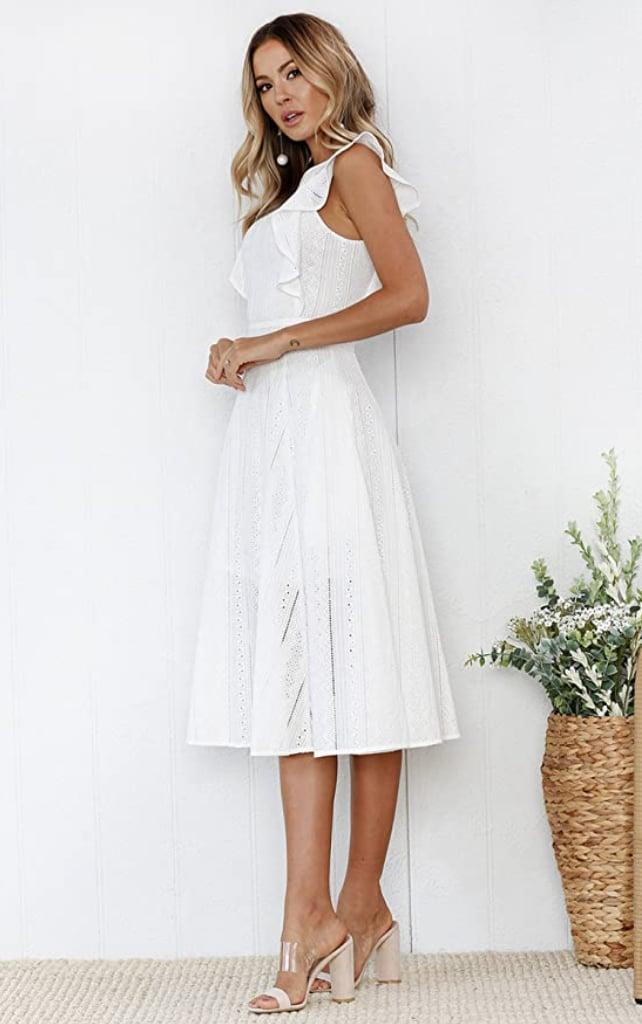 <p>The ruffles on this <span> Ecowish Summer Midi Dress </span> ($33-$42) sold us.</p>