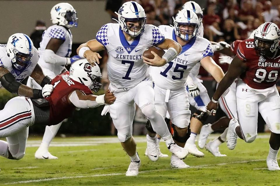 Kentucky quarterback Will Levis (7) ran six times for 30 yards in UK's 16-10 win at South Carolina on Saturday. The Penn State transfer completed 15 of 22 passes for 102 yards with an interception.