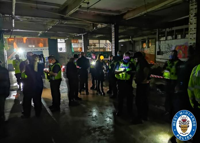 Police in Birmingham broke up an illegal rave, issuing 100 fines. (West Midlands Police)