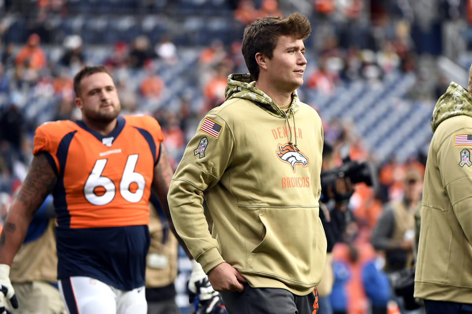 His time? The Denver Broncos are expected to start rookie Drew Lock on Sunday. (Joe Amon/MediaNews Group/The Denver Post via Getty Images)