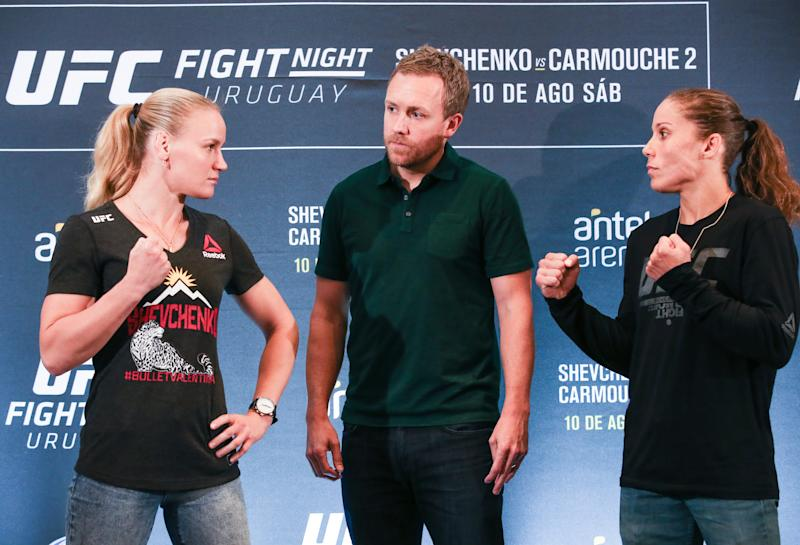 MONTEVIDEO, URUGUAY - AUGUST 08: (L-R) Valentina Shevchenko and Liz Carmouche face off during the Ultimate Media Day at Sheraton Hotel Montevideo on August 8, 2019 in Montevideo, Uruguay. (Photo by Alexandre Schneider /Zuffa LLC/Zuffa LLC)