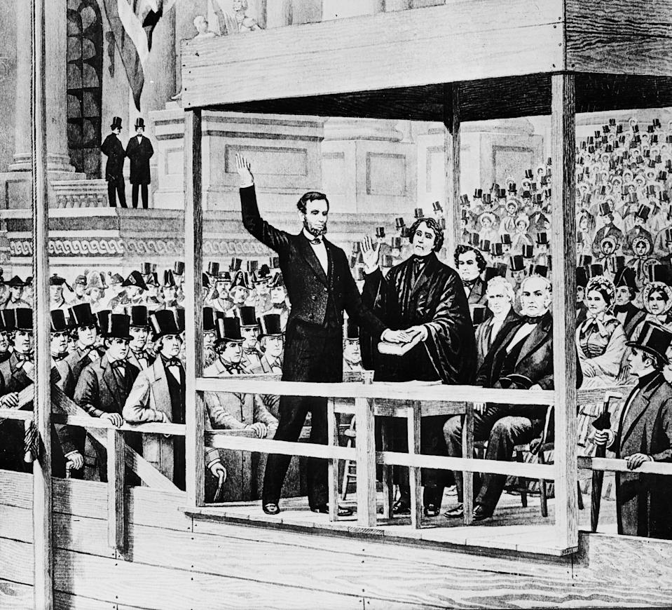 Abraham Lincoln on March 4, 1861, in Washington, D.C.
