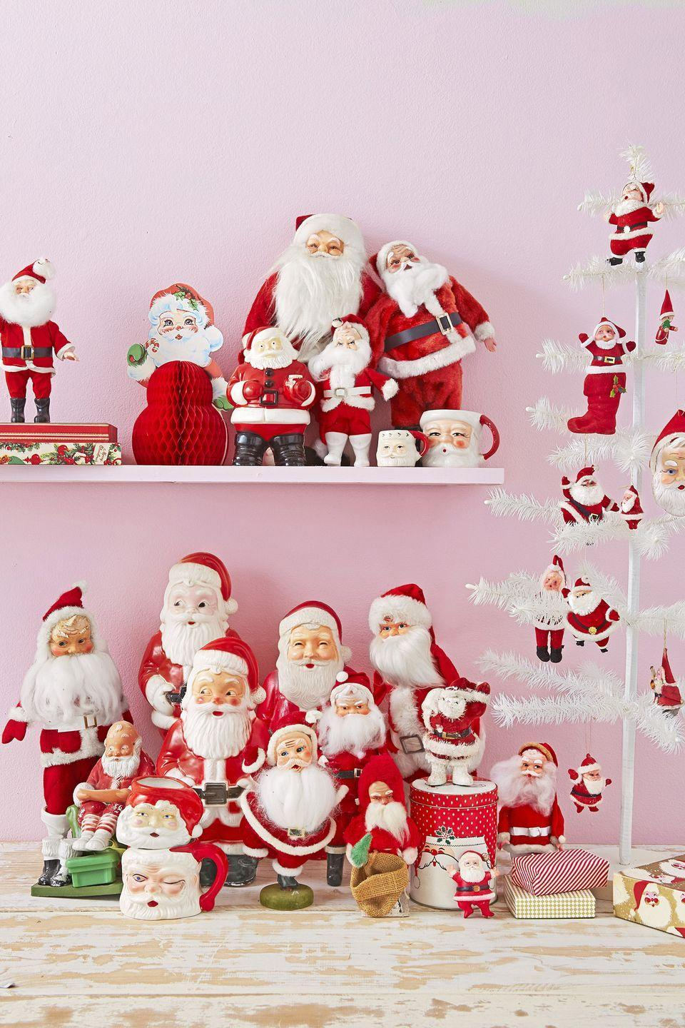 """<p>Even if you haven't collected Santa figurines over the years, this is the perfect excuse to begin. A family of Saint Nicks—no matter how mismatched—will look beautiful sitting atop your mantel or bureau.</p><p><a class=""""link rapid-noclick-resp"""" href=""""https://www.amazon.com/s/ref=nb_sb_noss_2?url=search-alias%3Daps&field-keywords=santa+figurine&tag=syn-yahoo-20&ascsubtag=%5Bartid%7C10050.g.1247%5Bsrc%7Cyahoo-us"""" rel=""""nofollow noopener"""" target=""""_blank"""" data-ylk=""""slk:SHOP SANTA FIGURINES"""">SHOP SANTA FIGURINES</a></p>"""