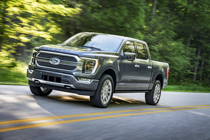 This undated photo provided by Ford shows the 2021 Ford F-150, an evolutionary redesign of America's best-selling pickup truck. (Ford Motor Co. via AP)