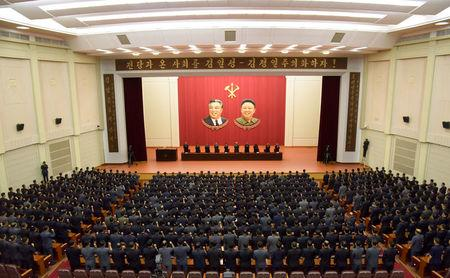 A meeting of DPRK of the central committee is held as they vow a sacred war against the U.S. during an anti-U.S. rally, in this undated photo released by North Korea's Korean Central News Agency (KCNA) in Pyongyang September 22, 2017. KCNA via REUTERS