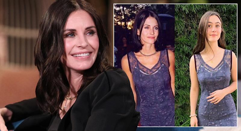Courteney Cox has shared a photo of her daughter Coco Arquette wearing her dress from over two decades ago [Photo: Getty/Instagram @CourteneyCox]