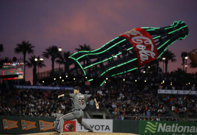 Arizona Diamondbacks pitcher Yoshihisa Hirano works against the San Francisco Giants during the sixth inning of a baseball game Thursday, June 27, 2019, in San Francisco. (AP Photo/Ben Margot)