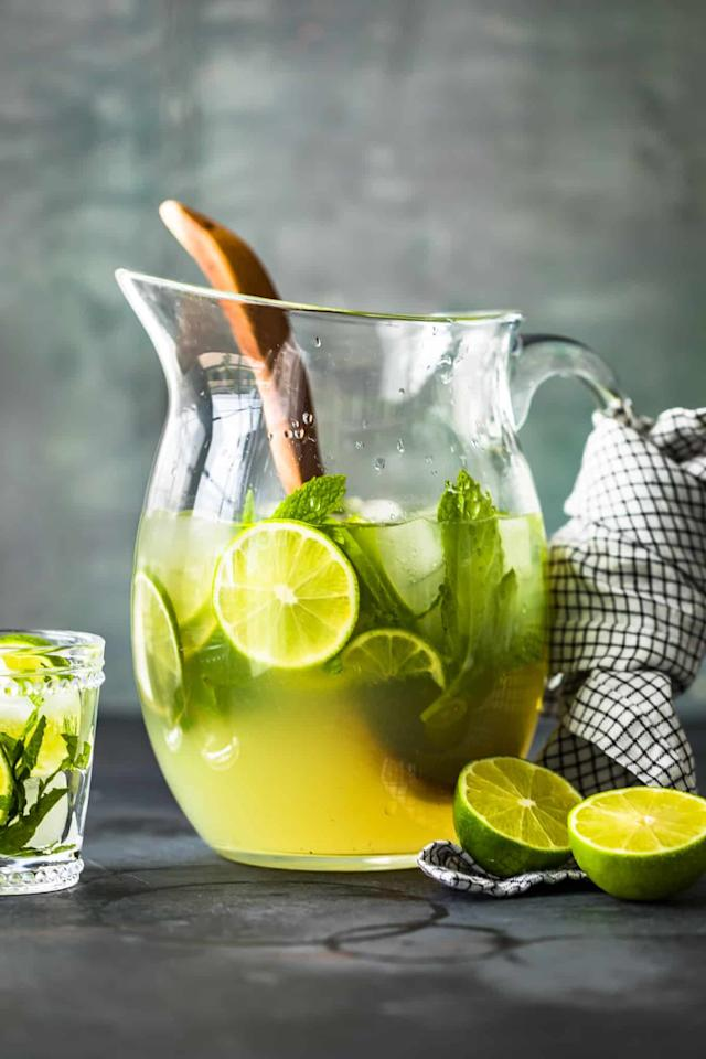 """<p>Fact: a pitcher full of a pretty (and strong) cocktail is basically a lifesaver. This <a href=""""http://www.thecookierookie.com/best-mojito-pitcher-recipe/"""" target=""""_blank"""" class=""""ga-track"""" data-ga-category=""""Related"""" data-ga-label=""""http://www.thecookierookie.com/best-mojito-pitcher-recipe/"""" data-ga-action=""""In-Line Links"""">mojito pitcher</a> is made of just five ingredients: rum, sugar, lime juice, club soda, and mint.</p>"""