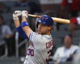 New York Mets' Michael Conforto drives in a run with a double in the third inning of a baseball game against the Atlanta Braves Tuesday, June 18, 2019, in Atlanta. (AP Photo/John Bazemore)