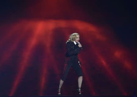 Singer Madonna performs at the BRIT music awards at the O2 Arena in Greenwich, London February 25, 2015. REUTERS/Toby Melville
