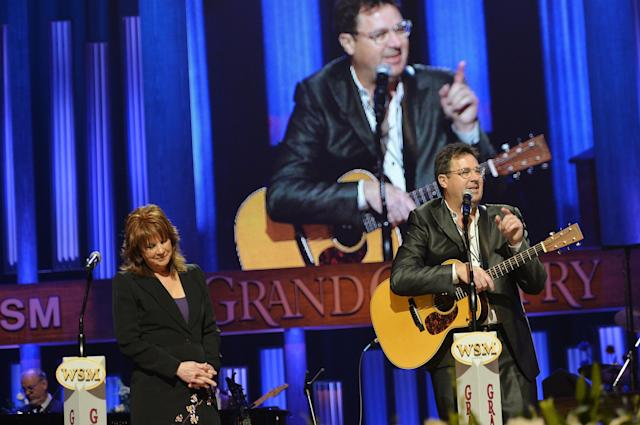 NASHVILLE, TN - MAY 02: (EXCLUSIVE COVERAGE) Country musicians Patty Loveless and Vince Gill perform at the funeral service for George Jones at The Grand Ole Opry on May 2, 2013 in Nashville, Tennessee. Jones passed away on April 26, 2013 at the age of 81. (Photo by Rick Diamond/Getty Images for GJ Memorial)